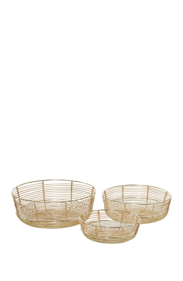 WILLOW ROW Small Round Coastal Metal & Bamboo Bowls w/ Gold Finish, 3-Piece Set, Main, color, GOLD