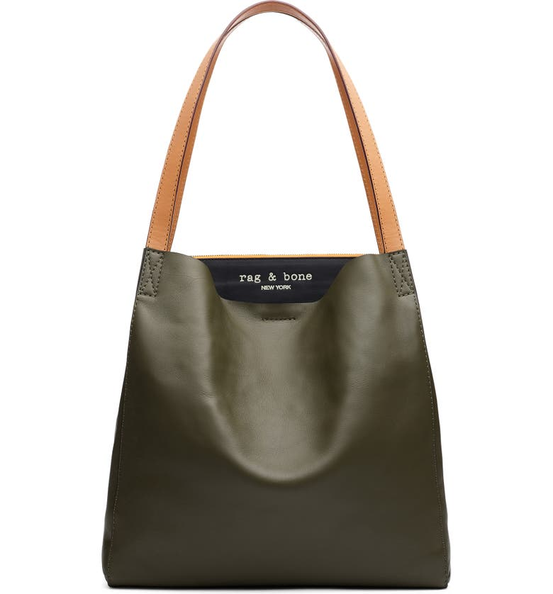 RAG & BONE Passenger Leather Tote, Main, color, OLVNGT/ BLACK