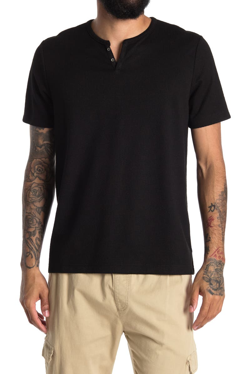 CONSTRUCT Solid Waffle Texture Short Sleeve Henley Shirt, Main, color, BLACK