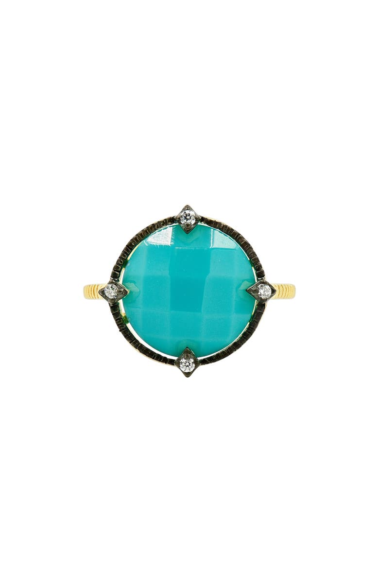 FREIDA ROTHMAN Color Theory Round Cocktail Ring, Main, color, GOLD/ BLACK/ TURQUOISE