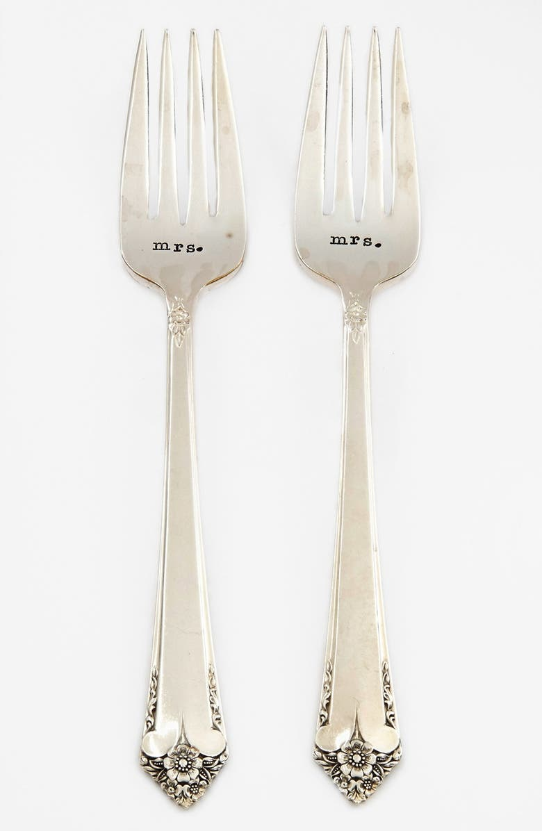 MILK AND HONEY LUXURIES 'Mrs. & Mrs.' Vintage Wedding Forks, Main, color, 040