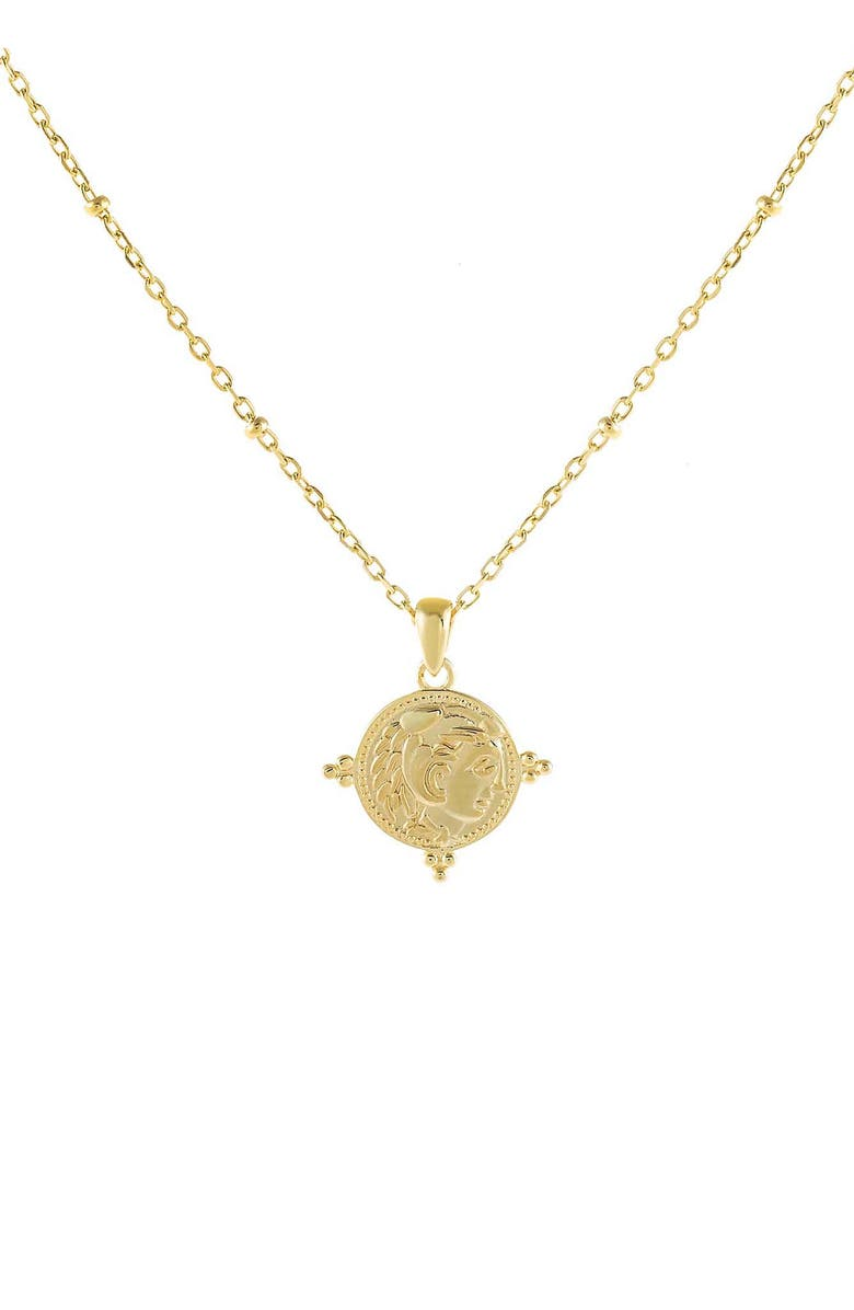 ADINA'S JEWELS Beaded Coin Pendant Necklace, Main, color, Gold