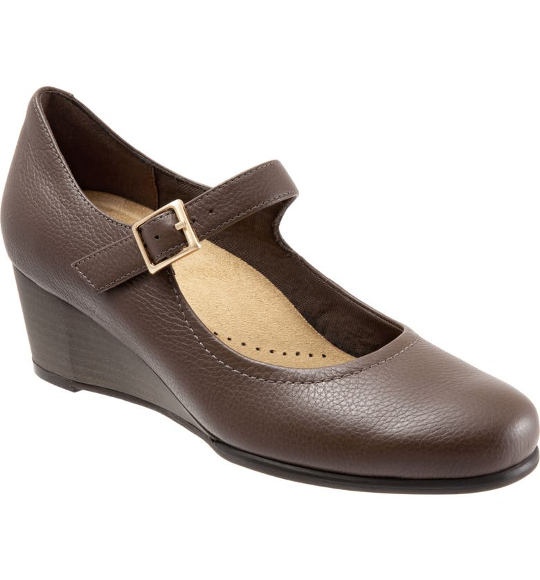 TROTTERS Willow Mary Jane Wedge Pump, Main, color, DARK TAUPE LEATHER