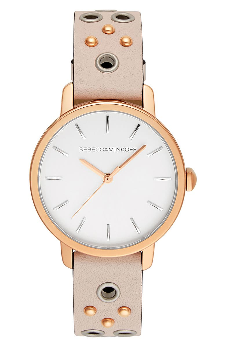 REBECCA MINKOFF BFFL Embellished Leather Strap Watch, 36mm, Main, color, SILVER WHITE SUNRAY