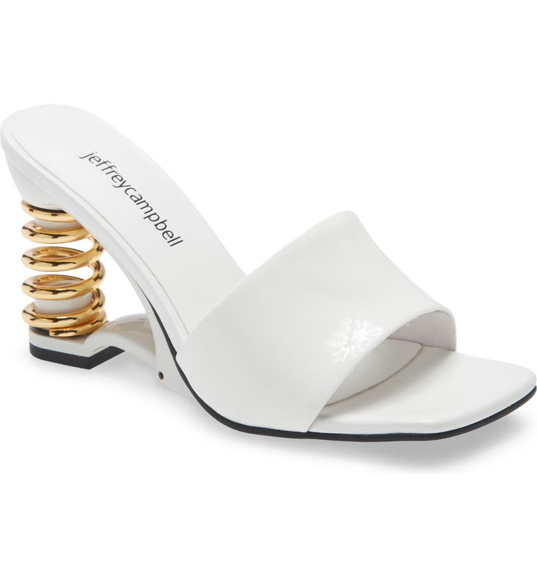 JEFFREY CAMPBELL Im Sprung Sandal, Main, color, WHITE PATENT GOLD LEATHER