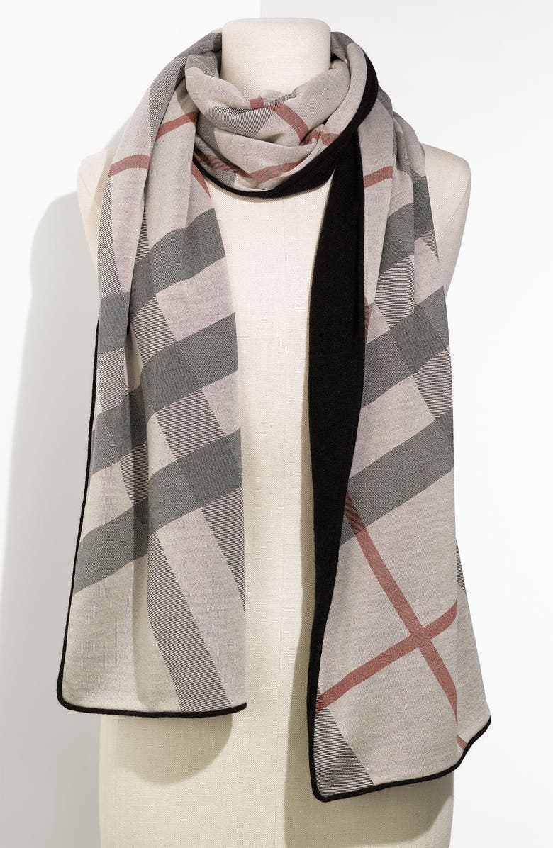 BURBERRY Solid & Check Cashmere Scarf, Main, color, 001