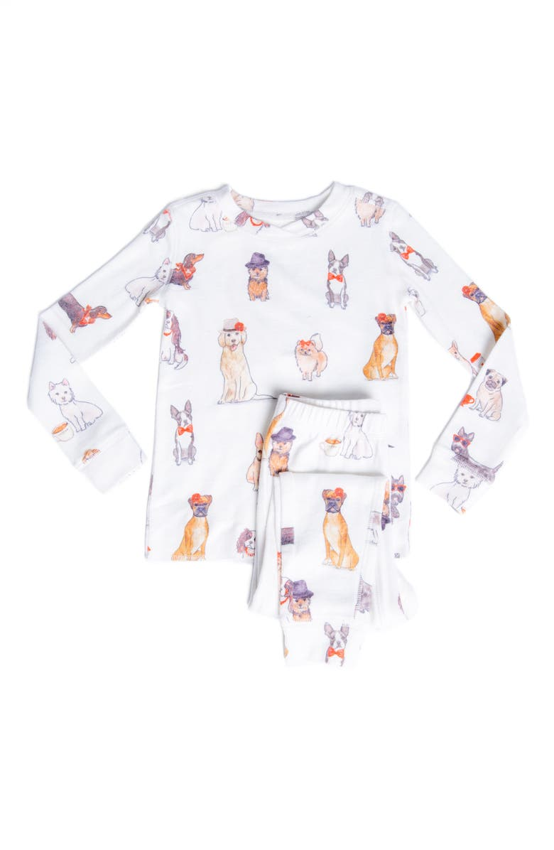 PJ SALVAGE Kids' Watercolor Dogs Fitted Two-Piece Pajamas, Main, color, 100
