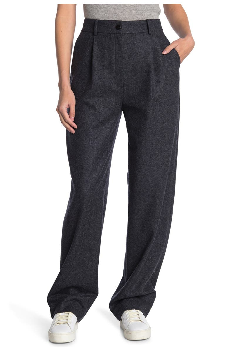 THEORY Pleated Relaxed Leg Trousers, Main, color, CHARCOAL MULTI
