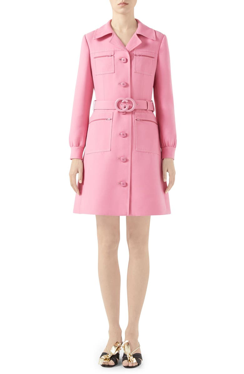GUCCI Belted Cady Crepe Dress Coat, Main, color, ORTENSIA BLOOM
