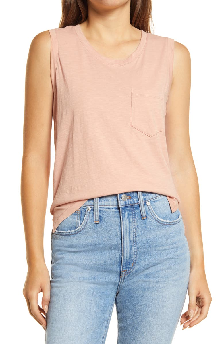 MADEWELL Whisper Pocket Cotton Muscle Tank, Main, color, ANTIQUE CORAL