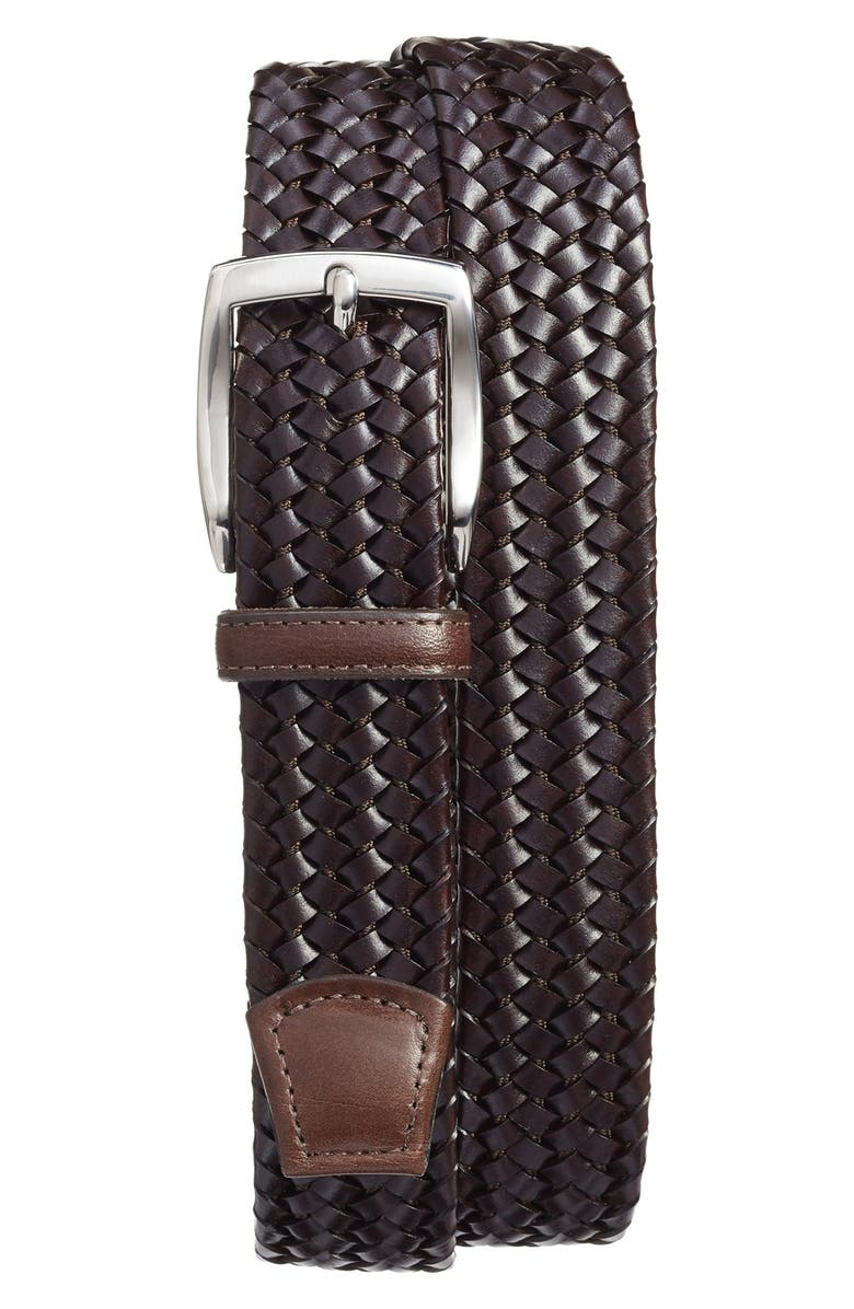 TORINO Woven Leather Belt, Main, color, Brown