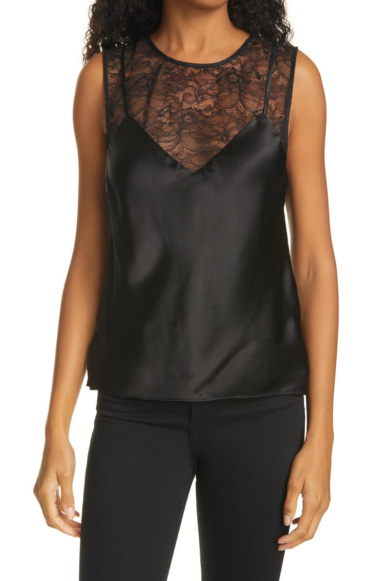 CAMI NYC Cleo Lace Silk Camisole, Main, color, 001