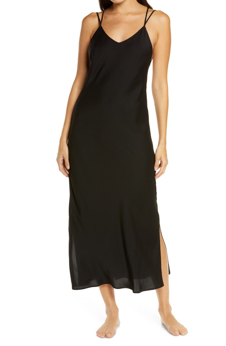 HONEYDEW INTIMATES Strappy Lounge Dress, Main, color, BLACK