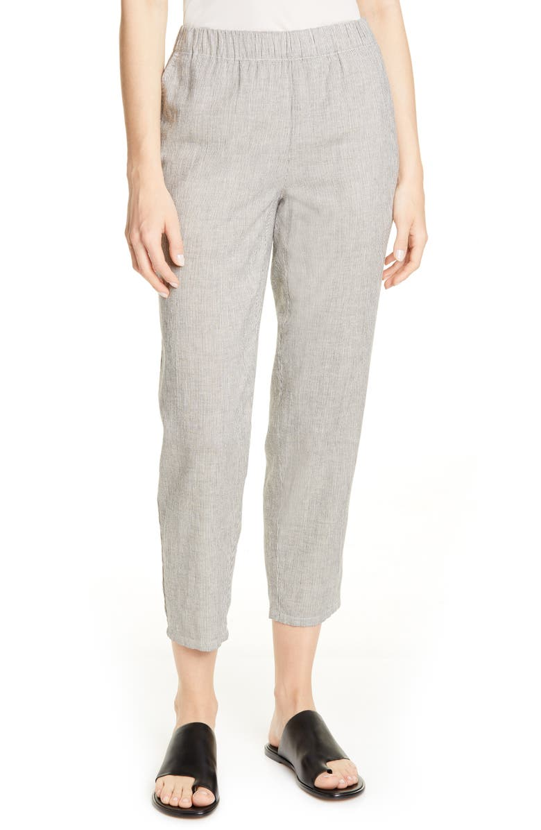 EILEEN FISHER Organic Cotton & Linen Tapered Ankle Pants, Main, color, BEIGE SOFT WHITE