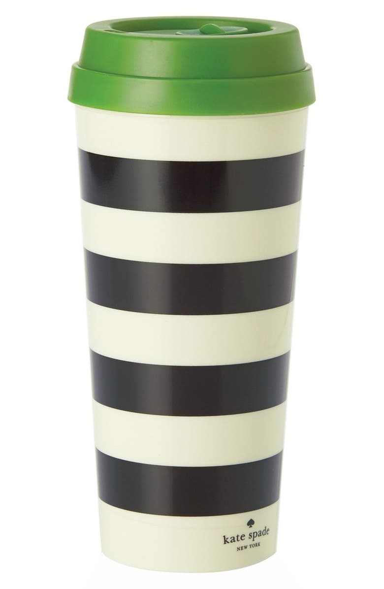 KATE SPADE NEW YORK stripe thermal travel mug, Main, color, 001