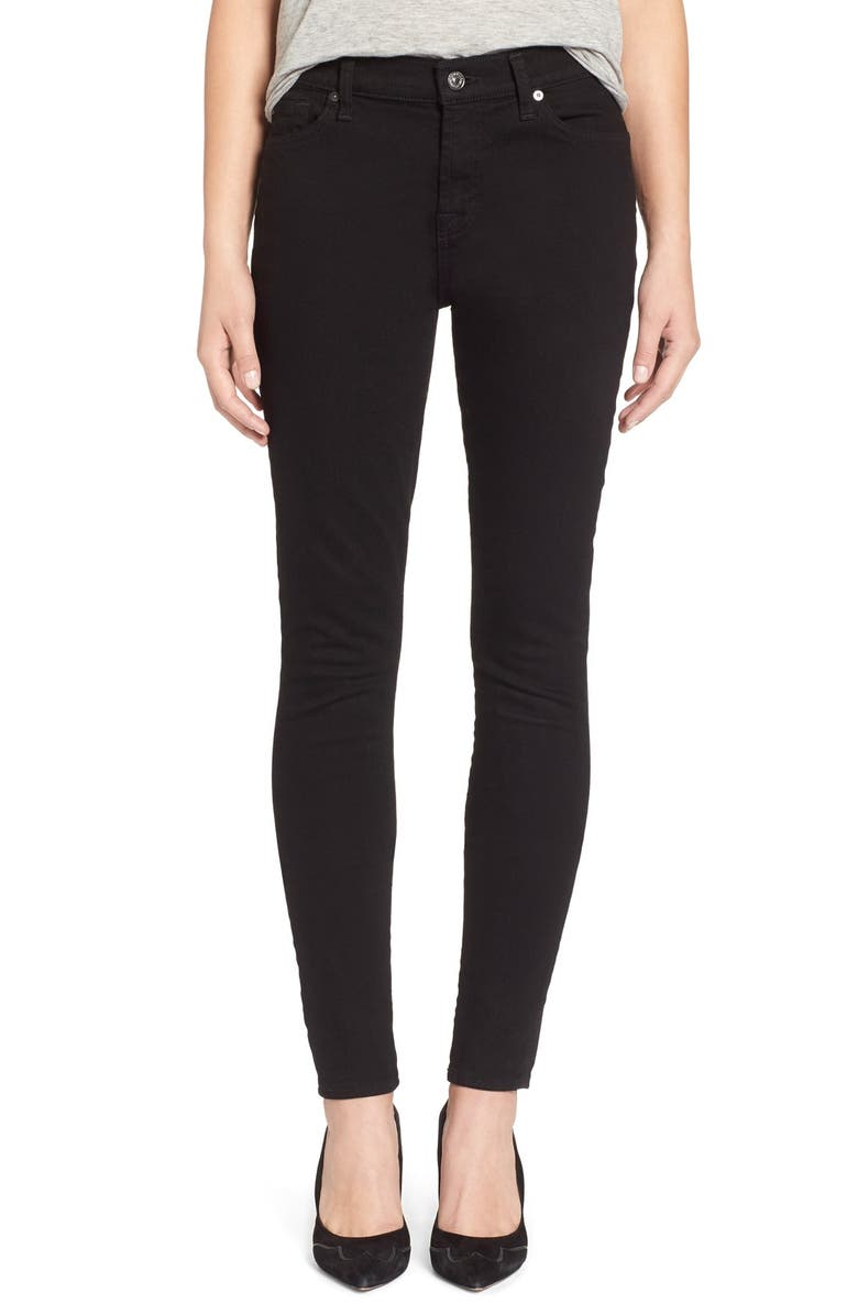 7 FOR ALL MANKIND <sup>®</sup> Skinny Jeans, Main, color, BLACK