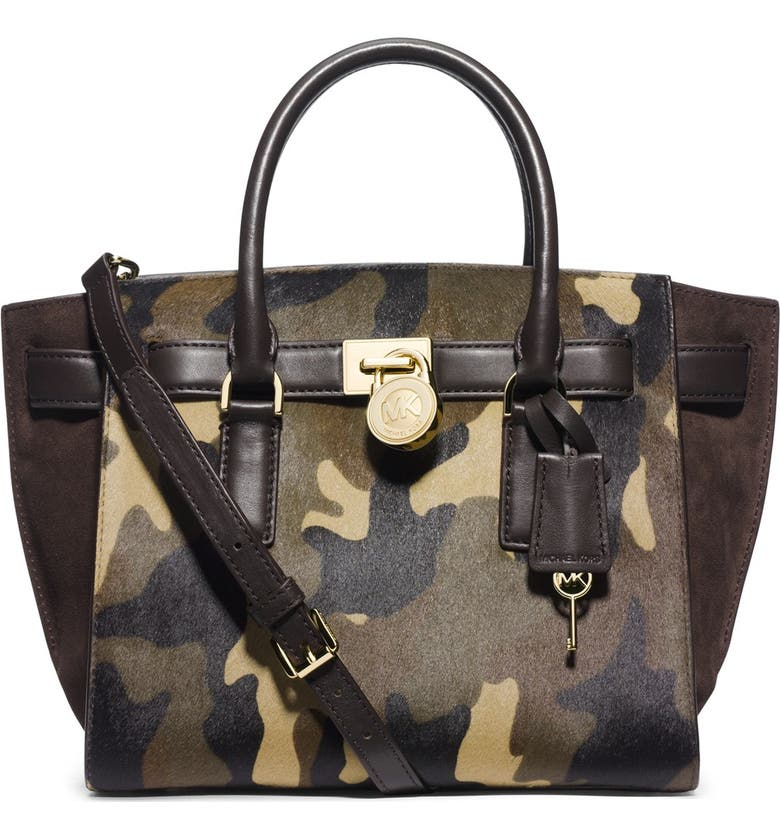 MICHAEL MICHAEL KORS 'Medium Hamilton - Traveler' Calf Hair & Leather Tote, Main, color, 306