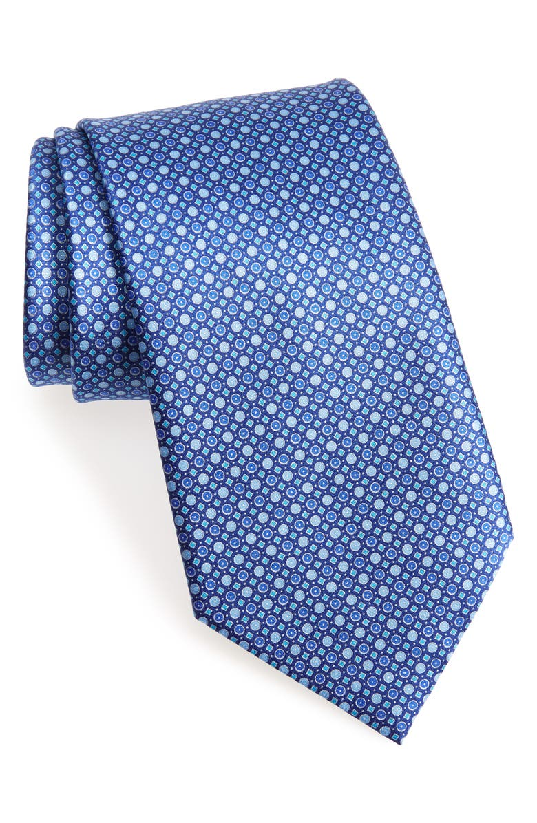 ERMENEGILDO ZEGNA Geometric Dot Silk Tie, Main, color, 428
