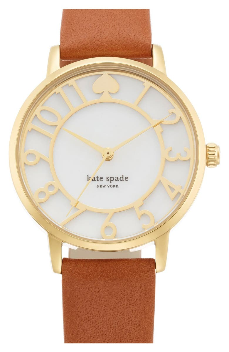 KATE SPADE NEW YORK 'metro' mother-of-pearl leather strap watch, 34mm, Main, color, BROWN/ GOLD