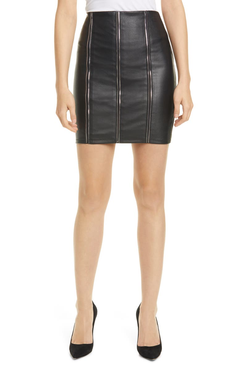 RTA Amelie Zip Detail Leather Miniskirt, Main, color, 400