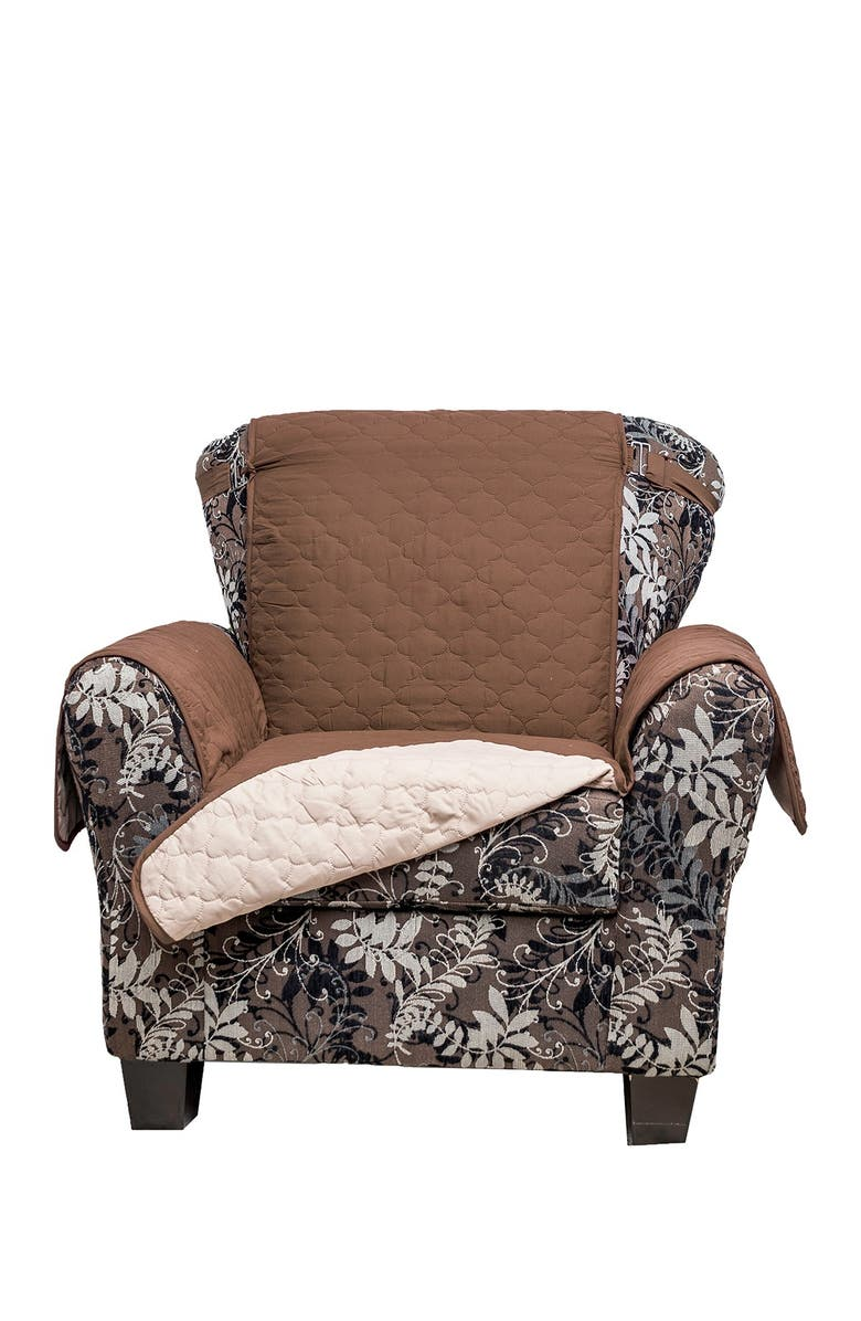 DUCK RIVER TEXTILE Chocolate/Natural Reynolda Reversible Waterproof Microfiber Chair Cover with Strap Buckles, Main, color, NONE