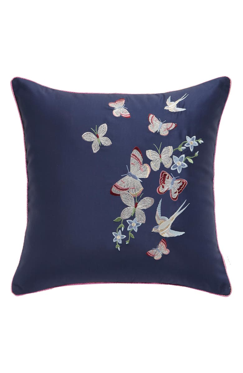 TED BAKER LONDON Butterfly Embroidered Accent Pillow, Main, color, 400