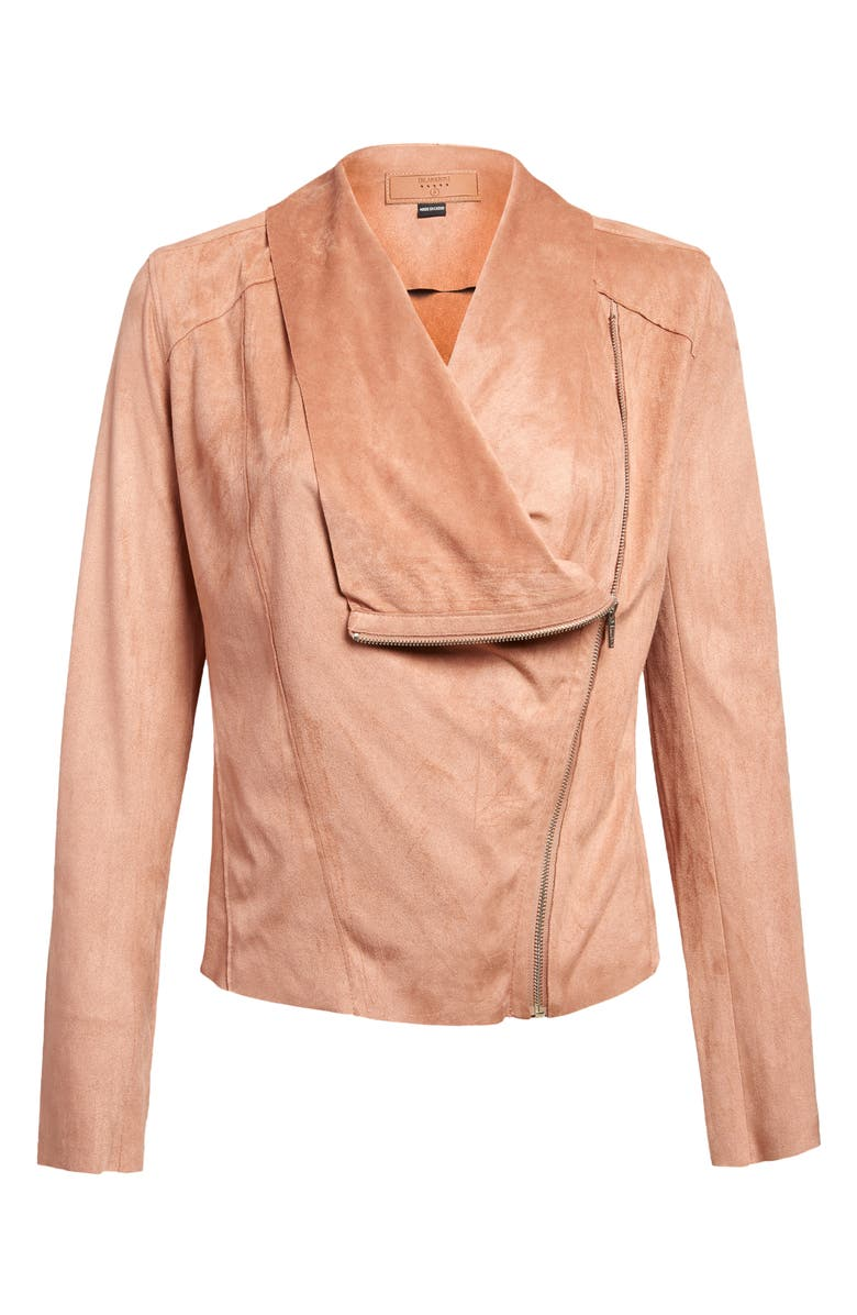 BLANKNYC Drape Front Faux Suede Jacket, Main, color, HONEYCOMB