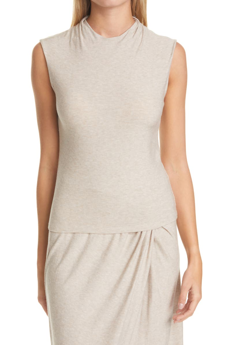 VINCE Draped Neck Top, Main, color, LT H BEIGE