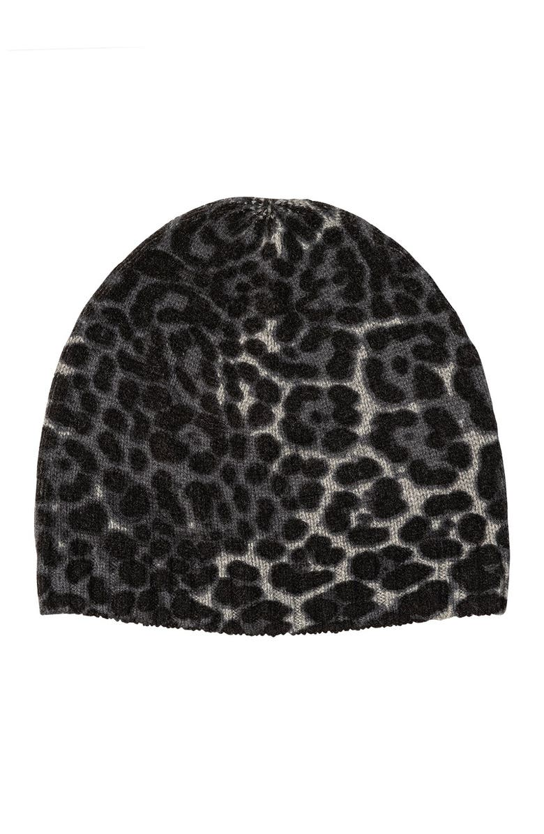 AMICALE Cashmere Animal Print Beanie, Main, color, GREY MULTI