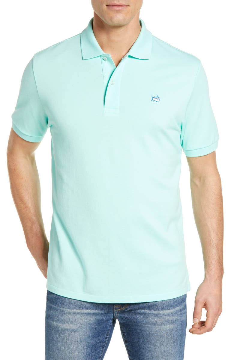 SOUTHERN TIDE 'Skipjack Micro Piqué' Stretch Cotton Polo, Main, color, OFFSHORE GREEN