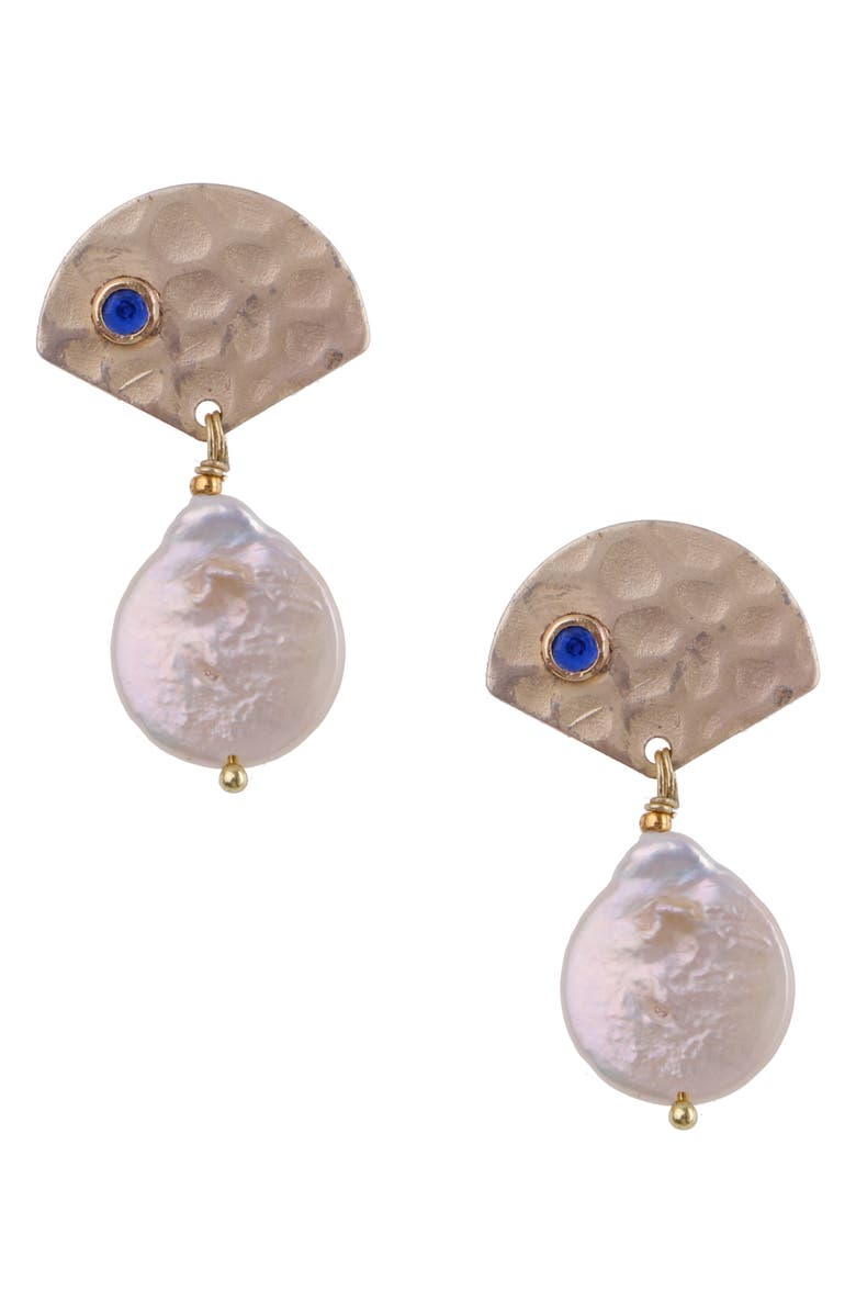 NAKAMOL CHICAGO Hammered Pearl Drop Earrings, Main, color, 710