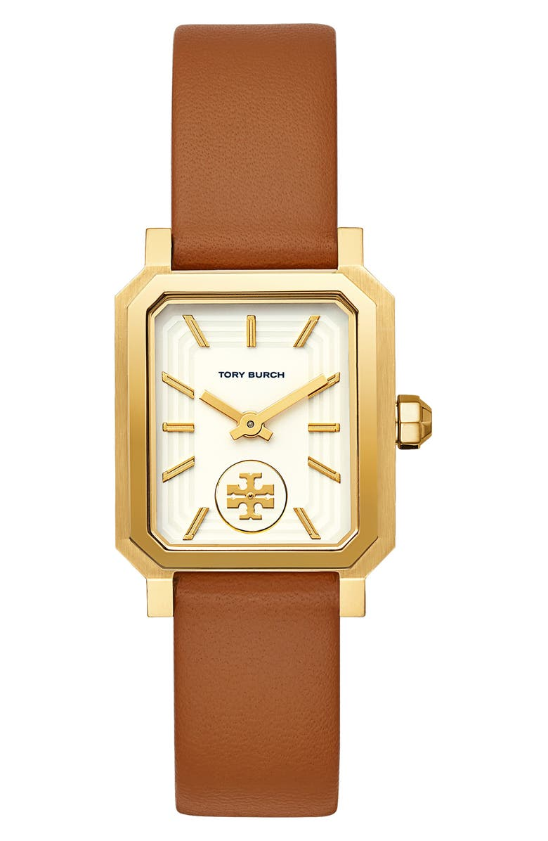 TORY BURCH Robinson Leather Strap Watch, 27mm x 29mm, Main, color, BROWN/ WHITE/ GOLD