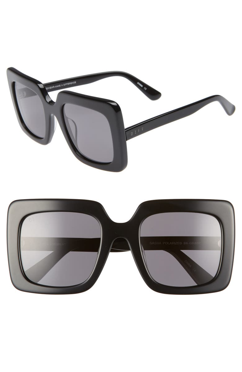 DIFF Sasha 53mm Polarized Sunglasses, Main, color, 001