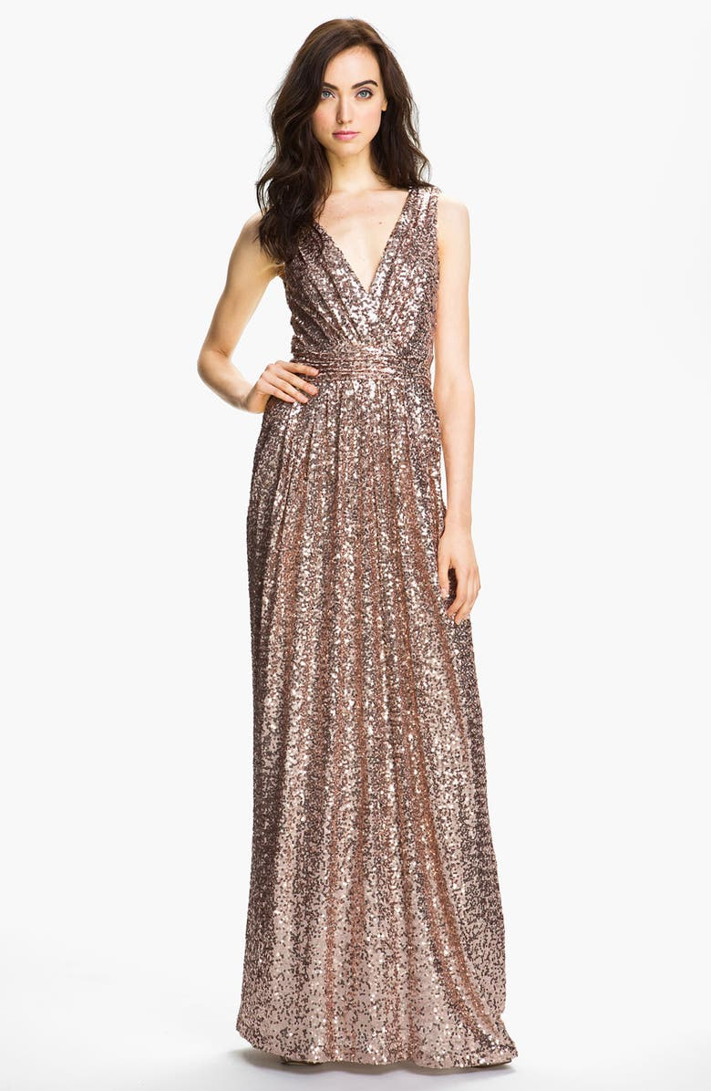 BADGLEY MISCHKA COLLECTION Badgley Mischka Double V-Neck Sequin Gown, Main, color, BLUSH