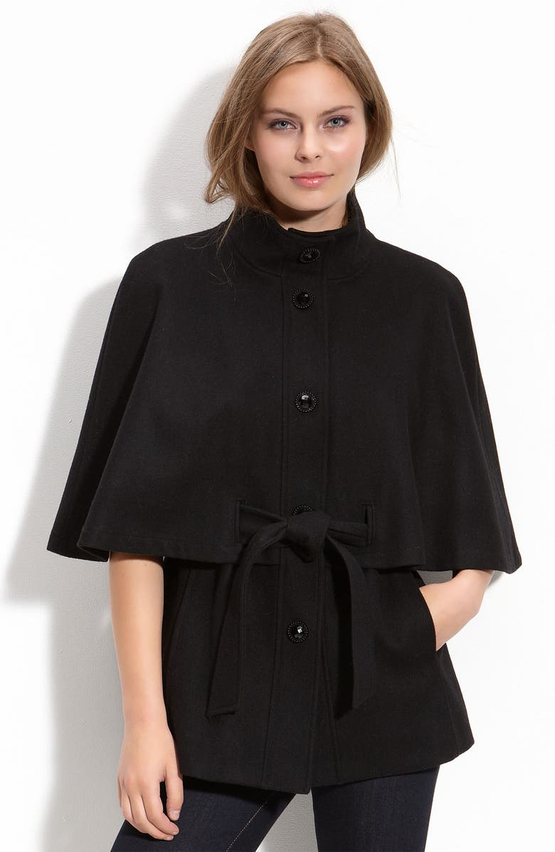 BETSEY JOHNSON Belted Capelet, Main, color, Black