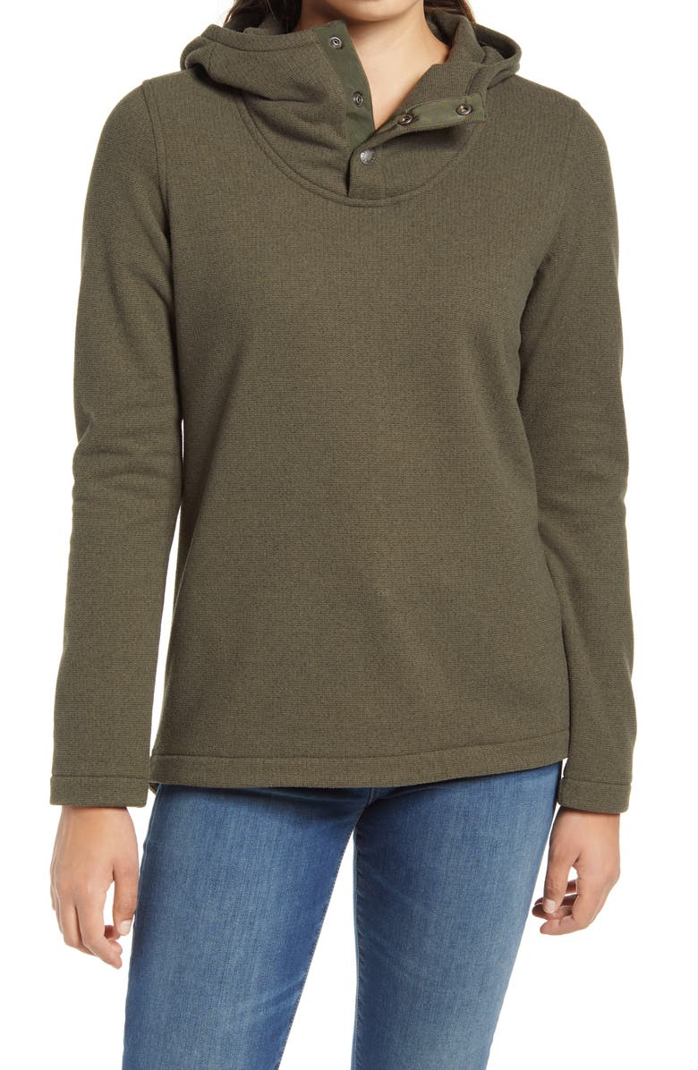 THE NORTH FACE Knit Stitch Fleece Hoodie, Main, color, NEW TAUPE GREEN