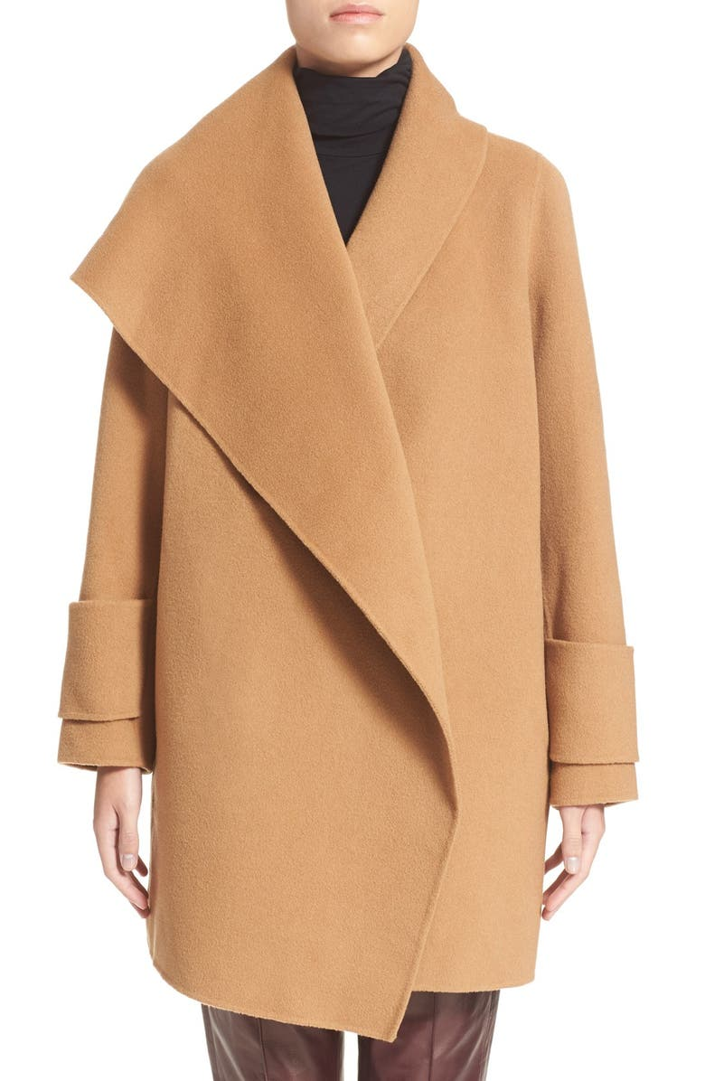 VINCE Drape Front Wool Coat, Main, color, 263