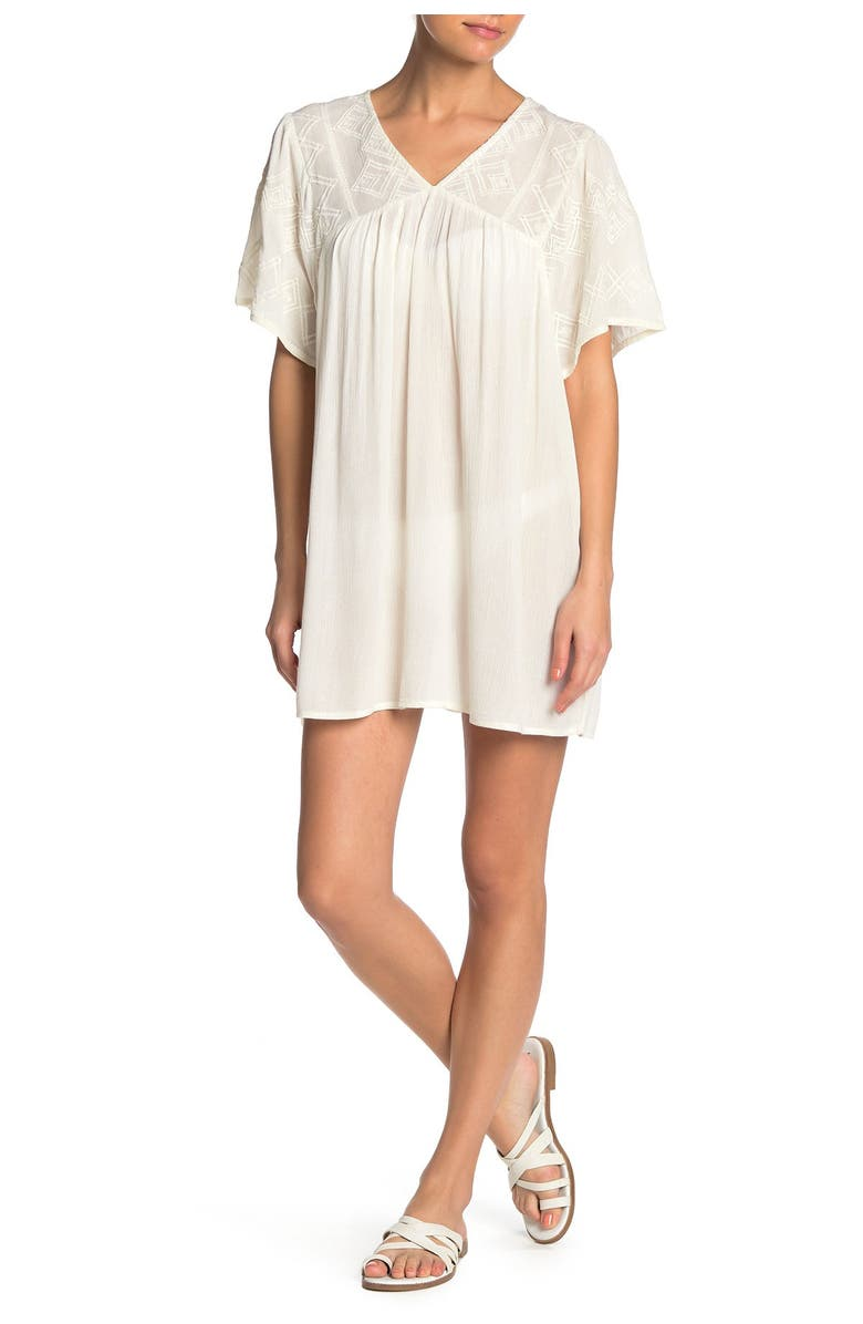 BOHO ME Embroidered Cover-Up Tunic Top, Main, color, NATURAL
