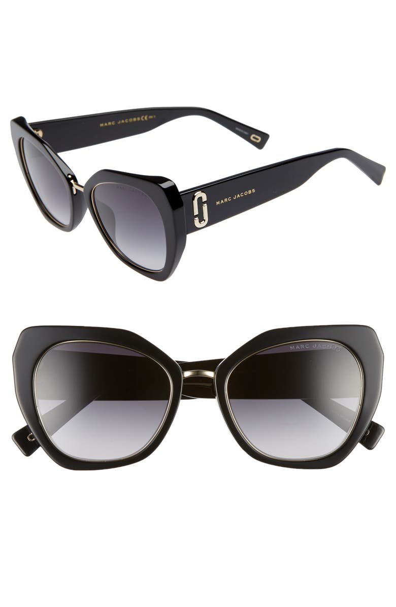 THE MARC JACOBS 53mm Cat Eye Sunglasses, Main, color, WHITE STRIPE