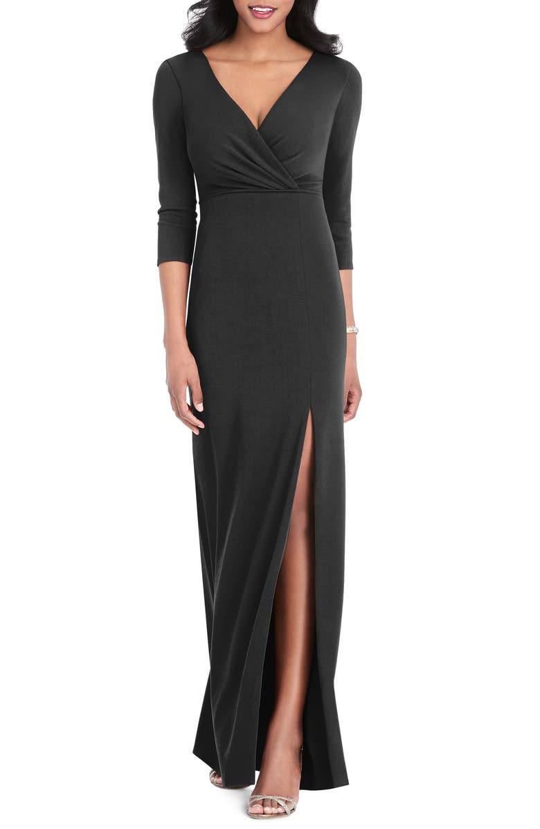 AFTER SIX Surplice Stretch Crepe Trumpet Gown, Main, color, 001