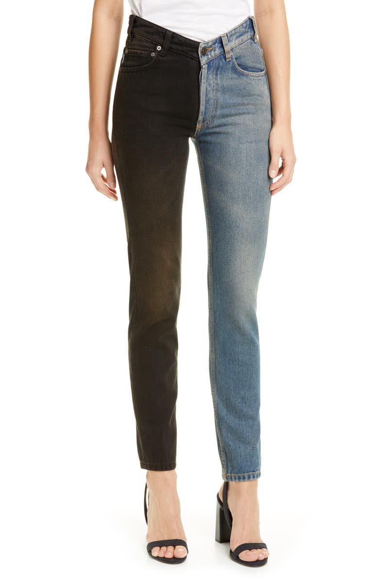BALENCIAGA V-Neck Two-Tone Jeans, Main, color, 400