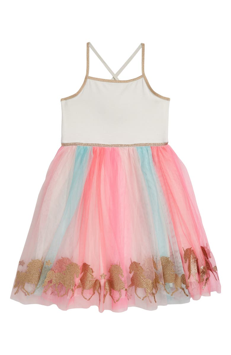 ZUNIE Rainbow Sleeveless Mesh Tutu Dress, Main, color, 900
