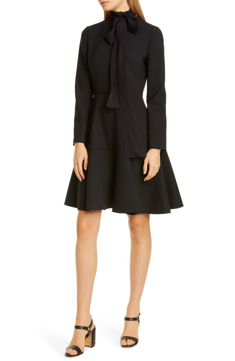VALENTINO Tie Neck Long Sleeve Fit & Flare Dress, Main, color, NERO