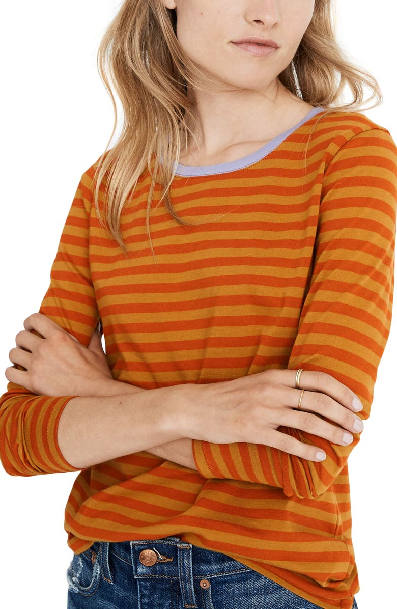 MADEWELL Northside Long Sleeve Vintage Tee in Driggs Stripe, Main, color, 200