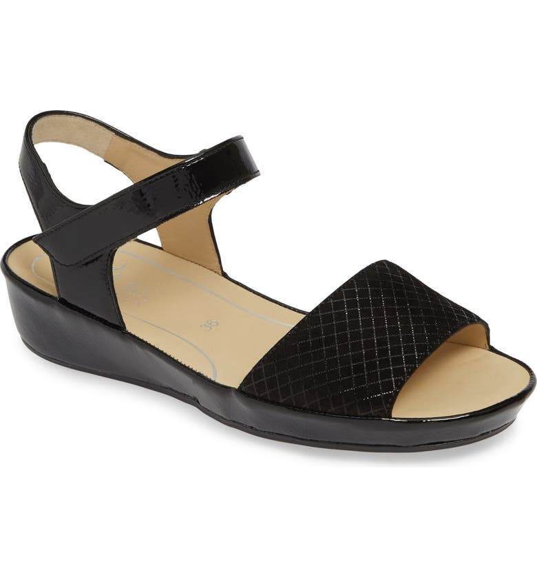 ARA Catalina Sandal, Main, color, BLACK SQUARE/ CRUNCH LEATHER