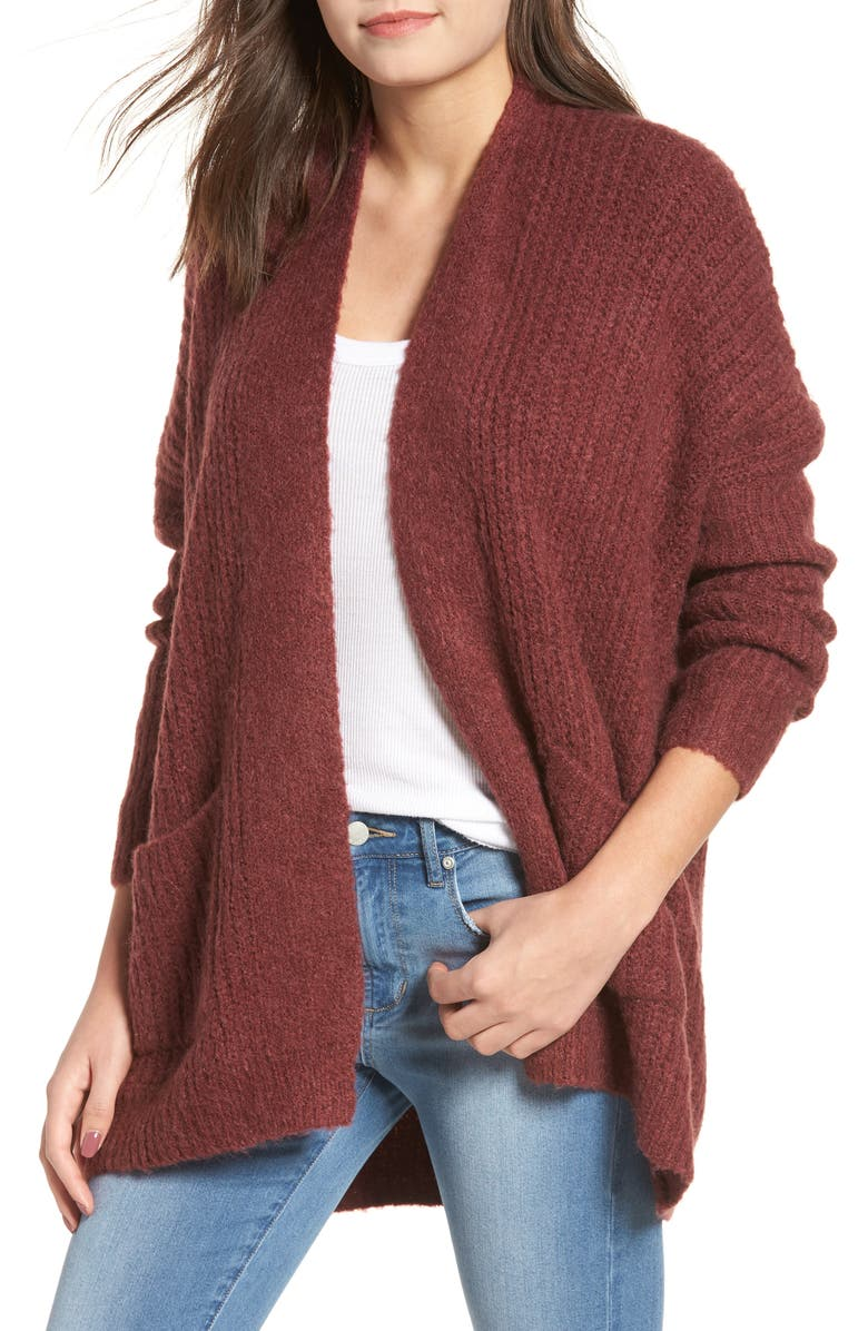 DREAMERS BY DEBUT Rib Knit Open Cardigan, Main, color, DUST PLUM
