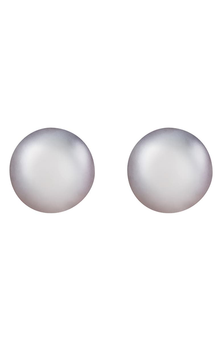 SPLENDID PEARLS Rhodium Plated Sterling Silver 8-9mm Dyed Gray Tahitian Pearl Stud Earrings, Main, color, DYED GRAY