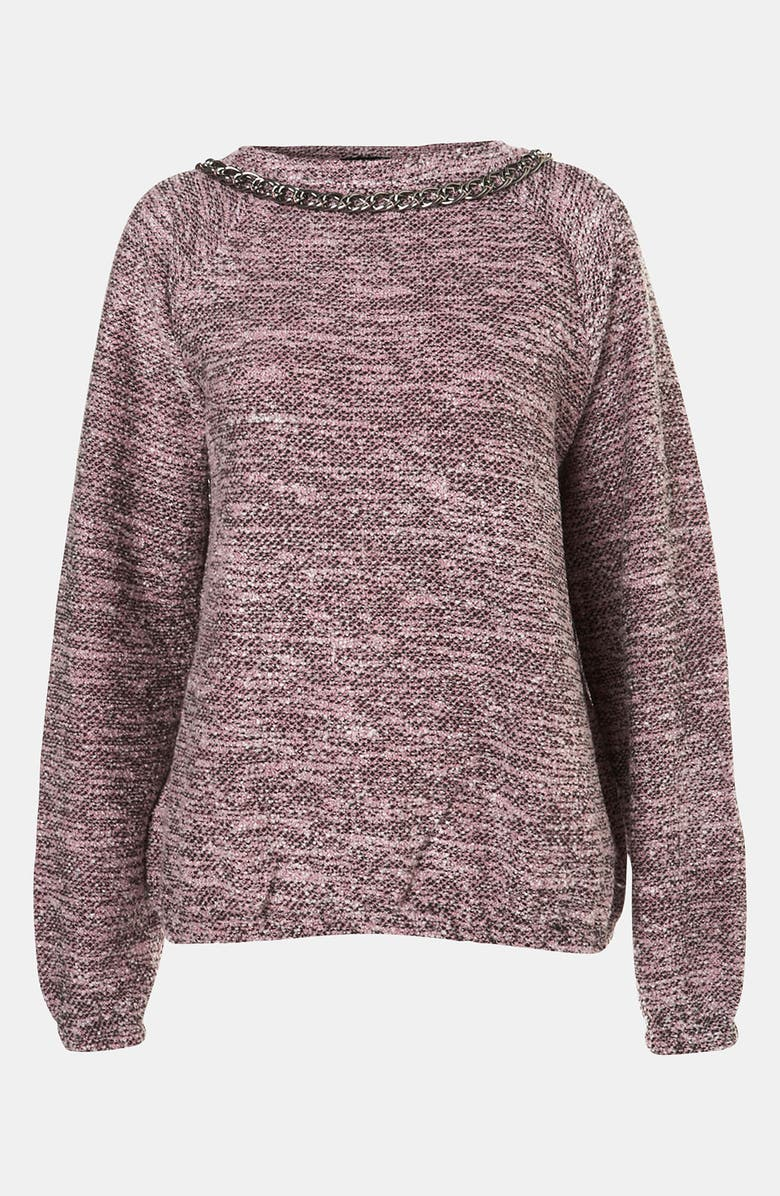 TOPSHOP Chain Trim Bouclé Sweatshirt, Main, color, 650