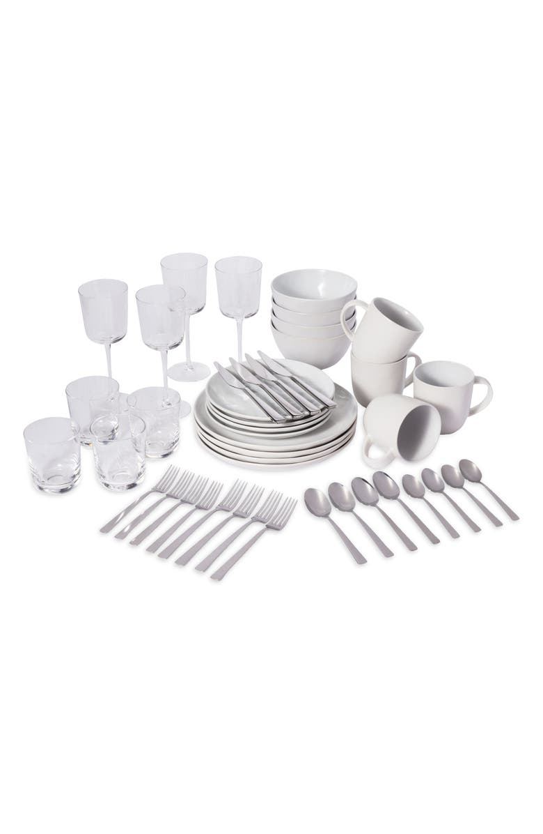 LEEWAY HOME The Full Way 44-Piece Set, Main, color, WHITE SOLIDS