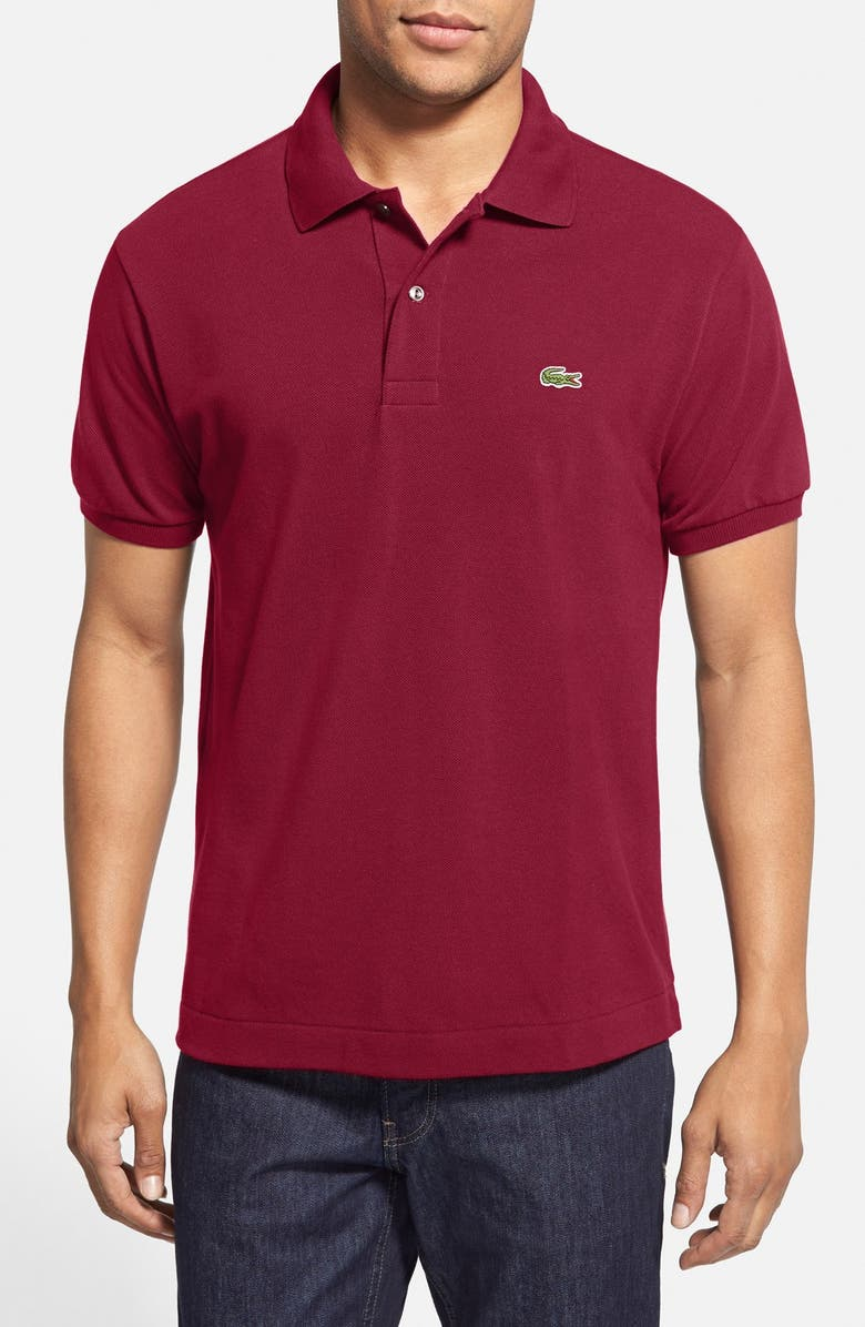 LACOSTE L1212 Regular Fit Piqué Polo, Main, color, BORDEAUX